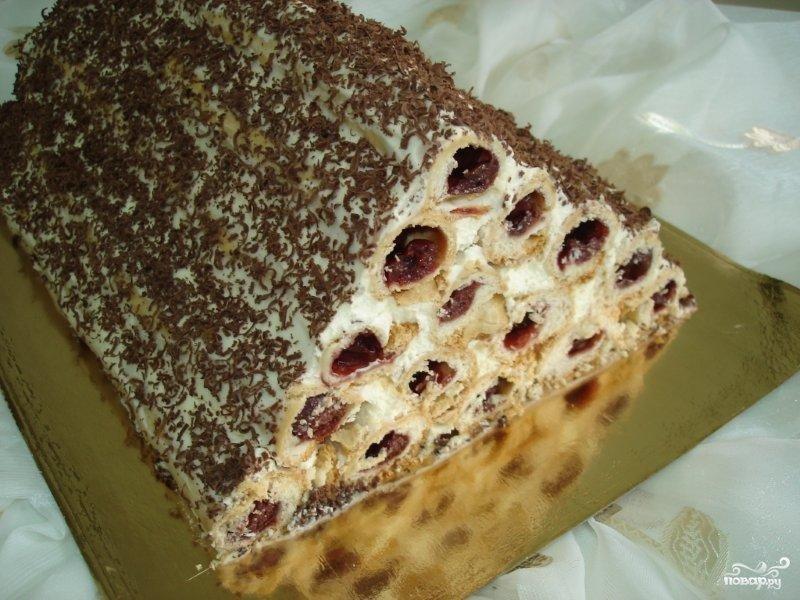 рецепт торта трубочки с вишнями фото