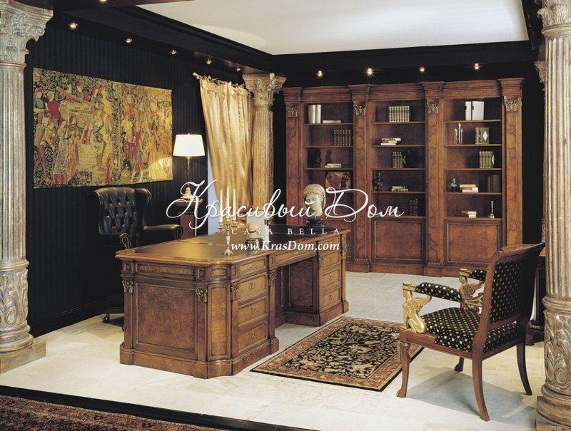 Кабинет с мебелью из массива древесины орехового оттенка ...