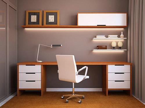 Интерьер домашнего кабинета в современном стиле -  прямые линии, только необходимые вещи под рукой. Такой интерьер домашнего кабинета позволит сохранять порядок.