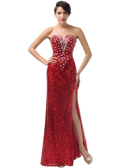 Длинное сексуальное красное платье
