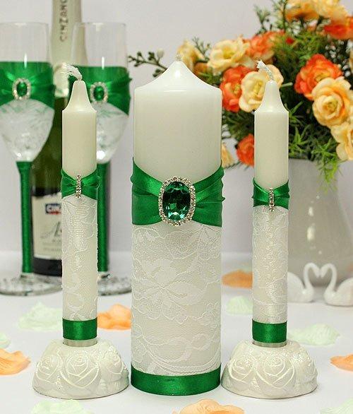 Свадебный набор в изумрудном цвете