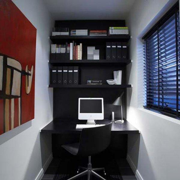 Дизайн маленького кабинета с одним окном
