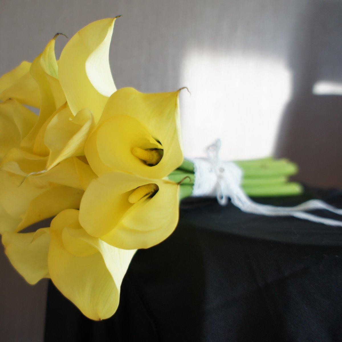 Желтые калл букет невесты купить, букеты марта