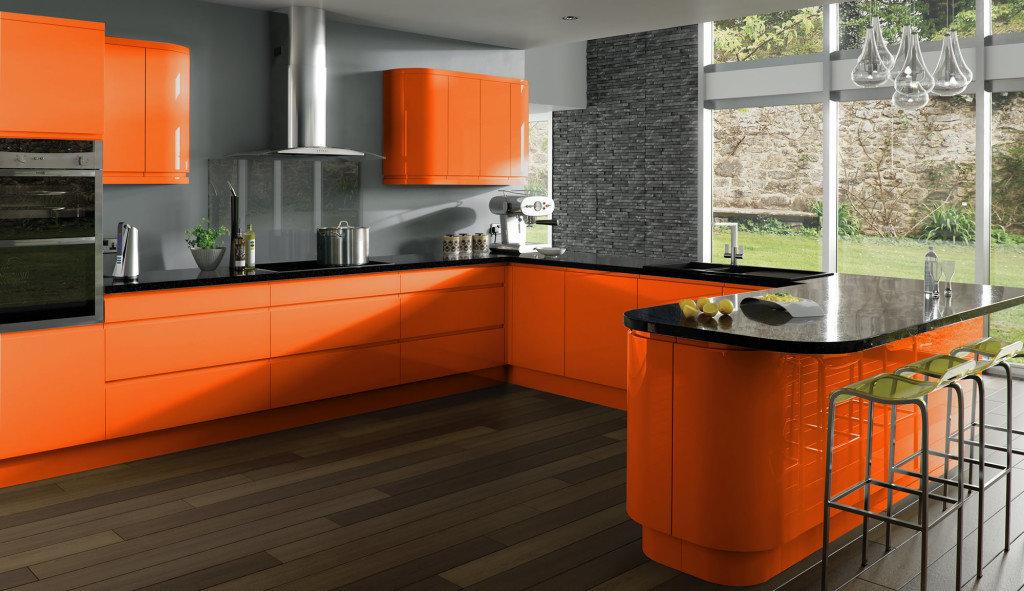 Кухни в оранжевом стиле фото