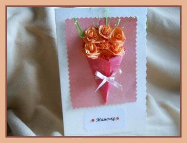 Открытка с розами с днем рождения своими руками
