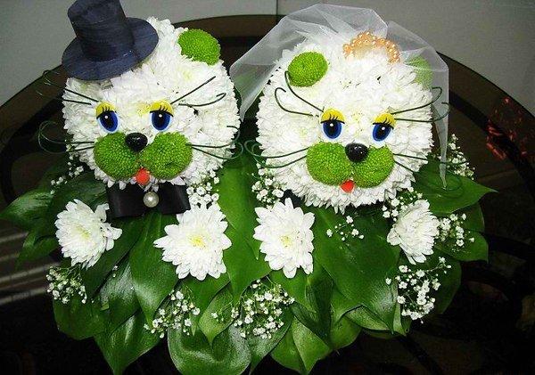 Свадебные, прикольные букетов из живых цветов мастер класс
