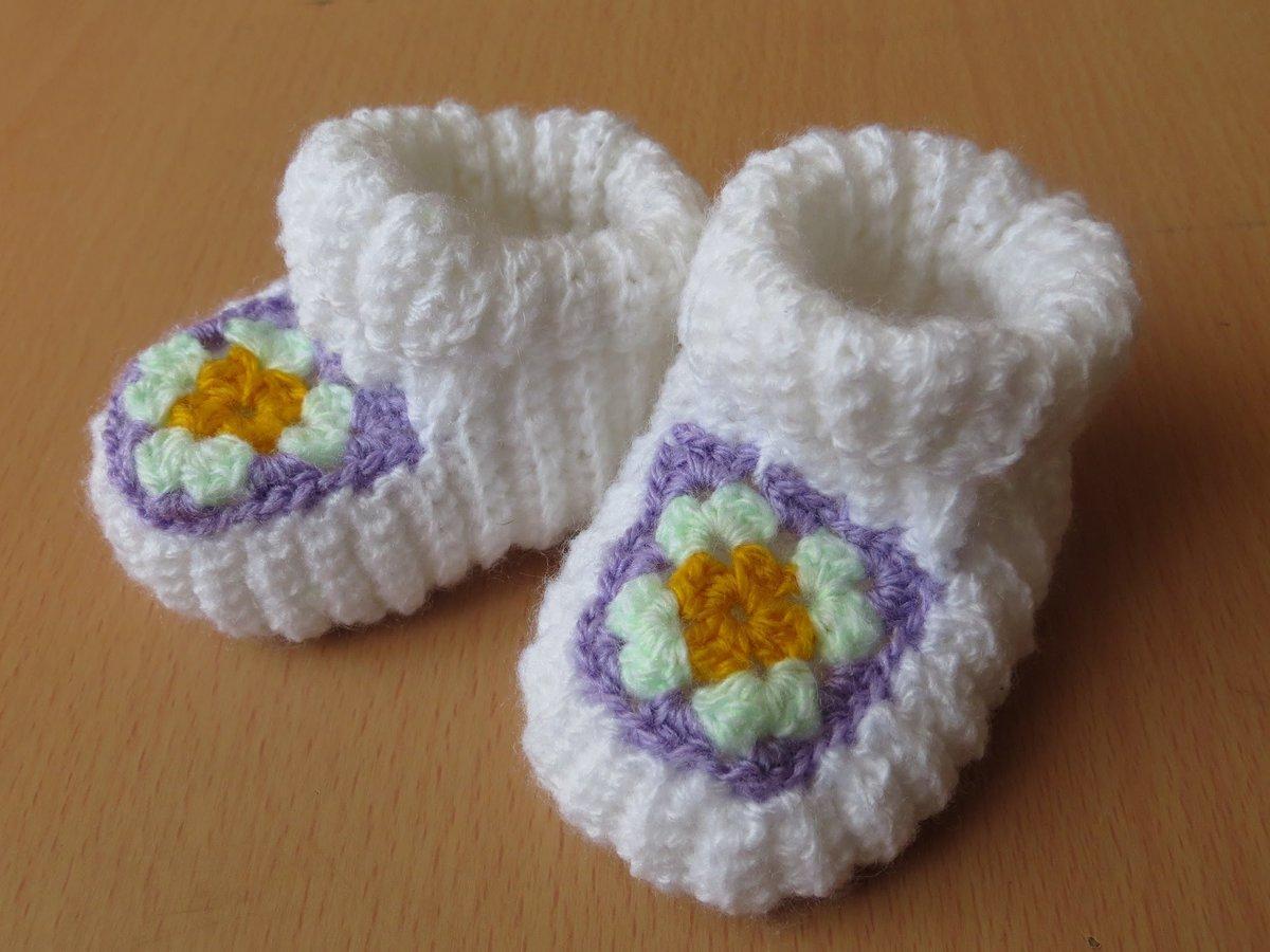 Теплые пинетки для новорожденного схема