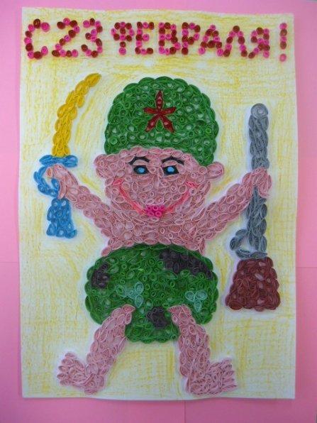 Открытка солдату своими руками от детей рисунки