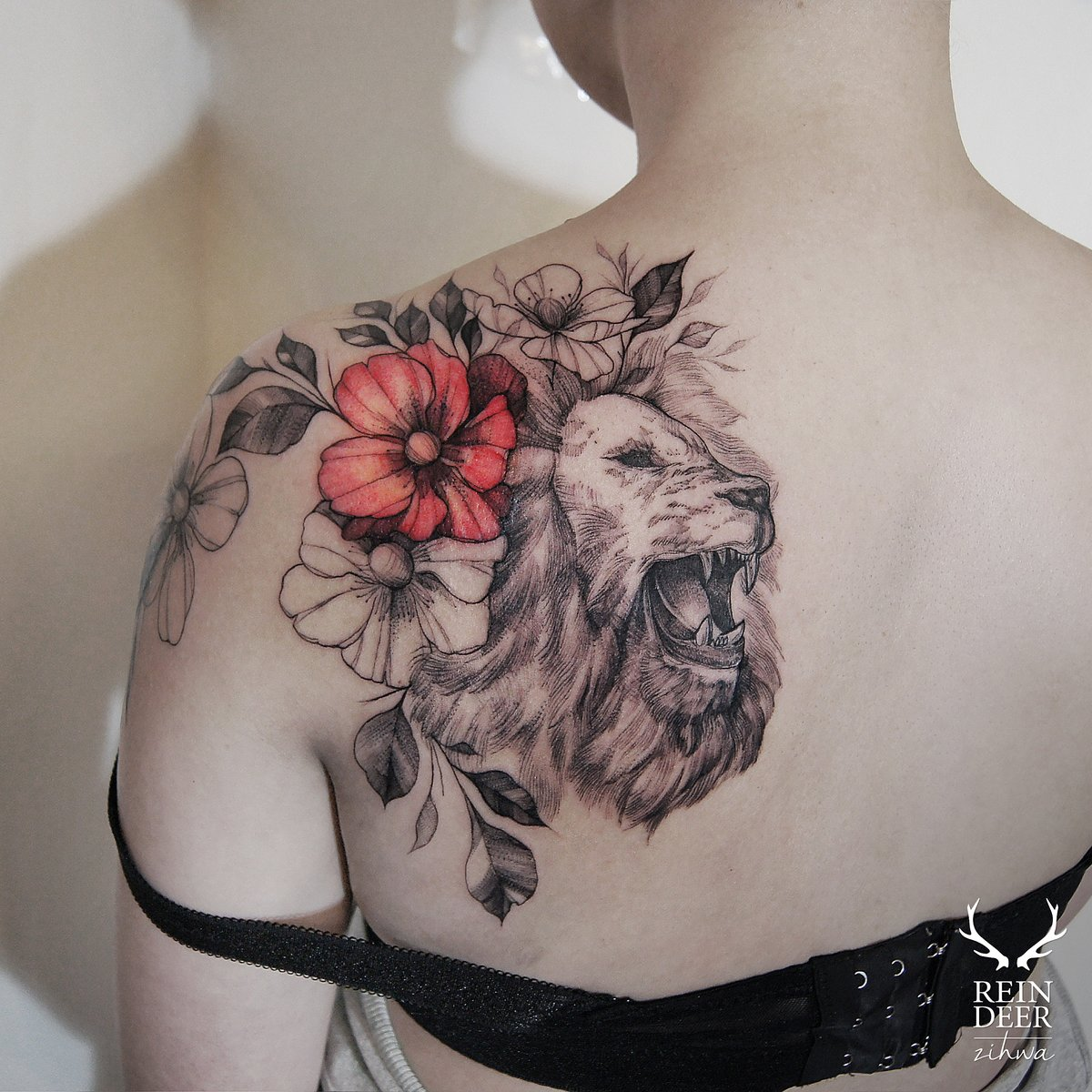 lion side tattoos for women - 750×750