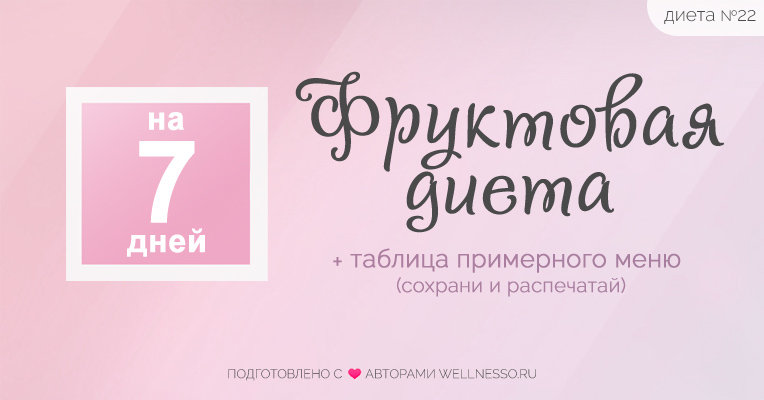 Фруктовая диета на 7 ДНЕЙ - http://wellnesso.ru/diety/fruktovaya ...