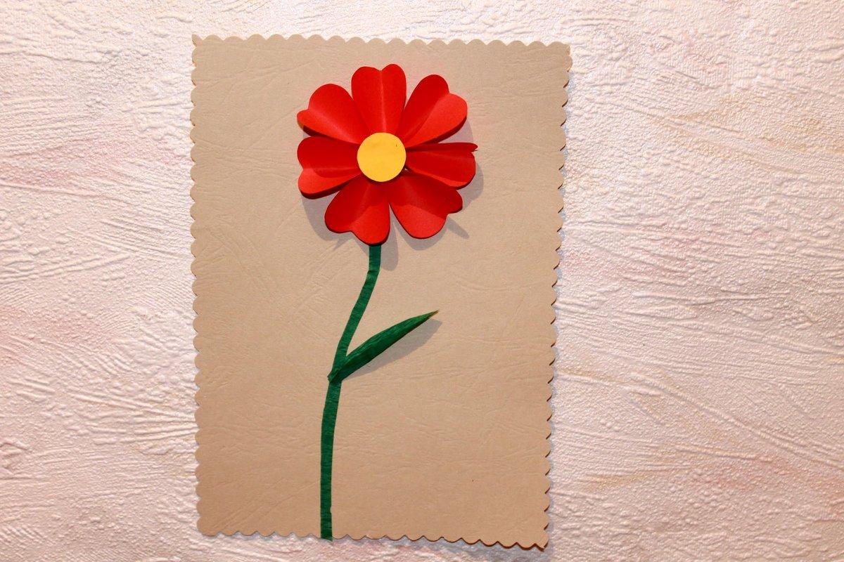 Сделать цветочек из бумаги на открытку, стиле японском своими