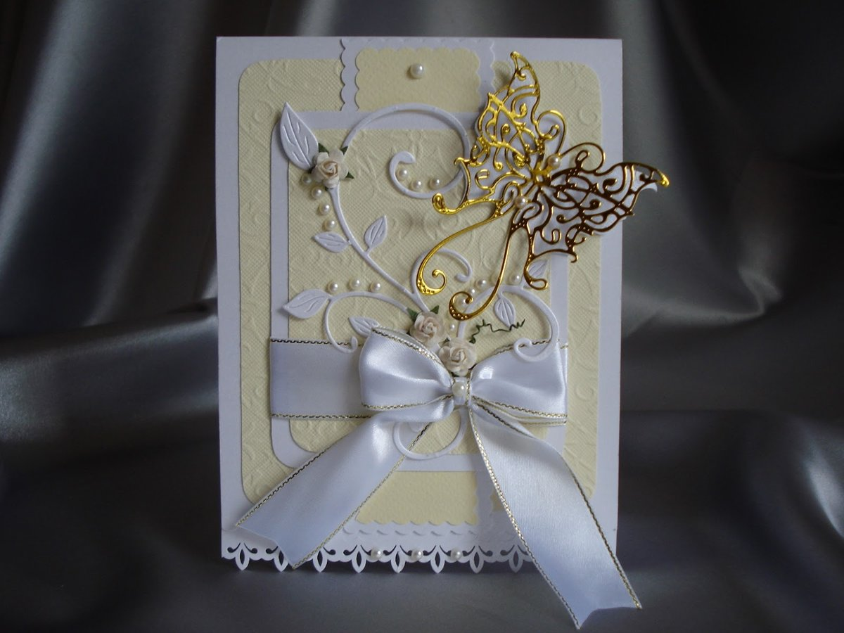Открытка на свадьбу из лент