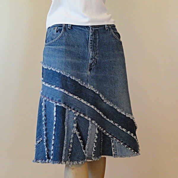 Юбки из джинсовых лоскутов