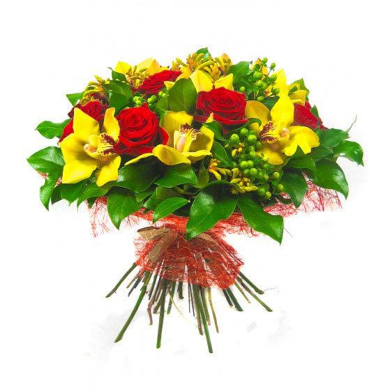 Сделать цветы, букет из красных роз и желтой орхидеи