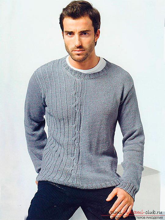 Мужской пуловер джемпер вязание спицами 312