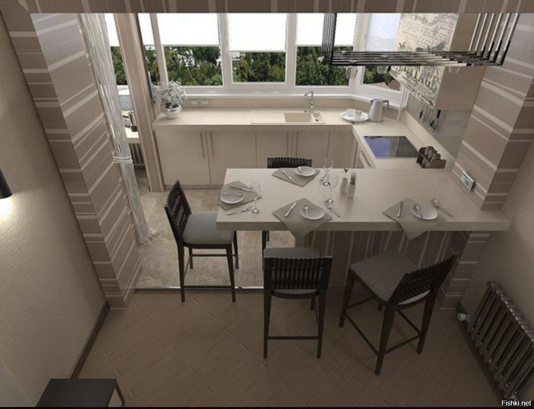 Балкон лоджия как продолжение кухни дезайн фото.