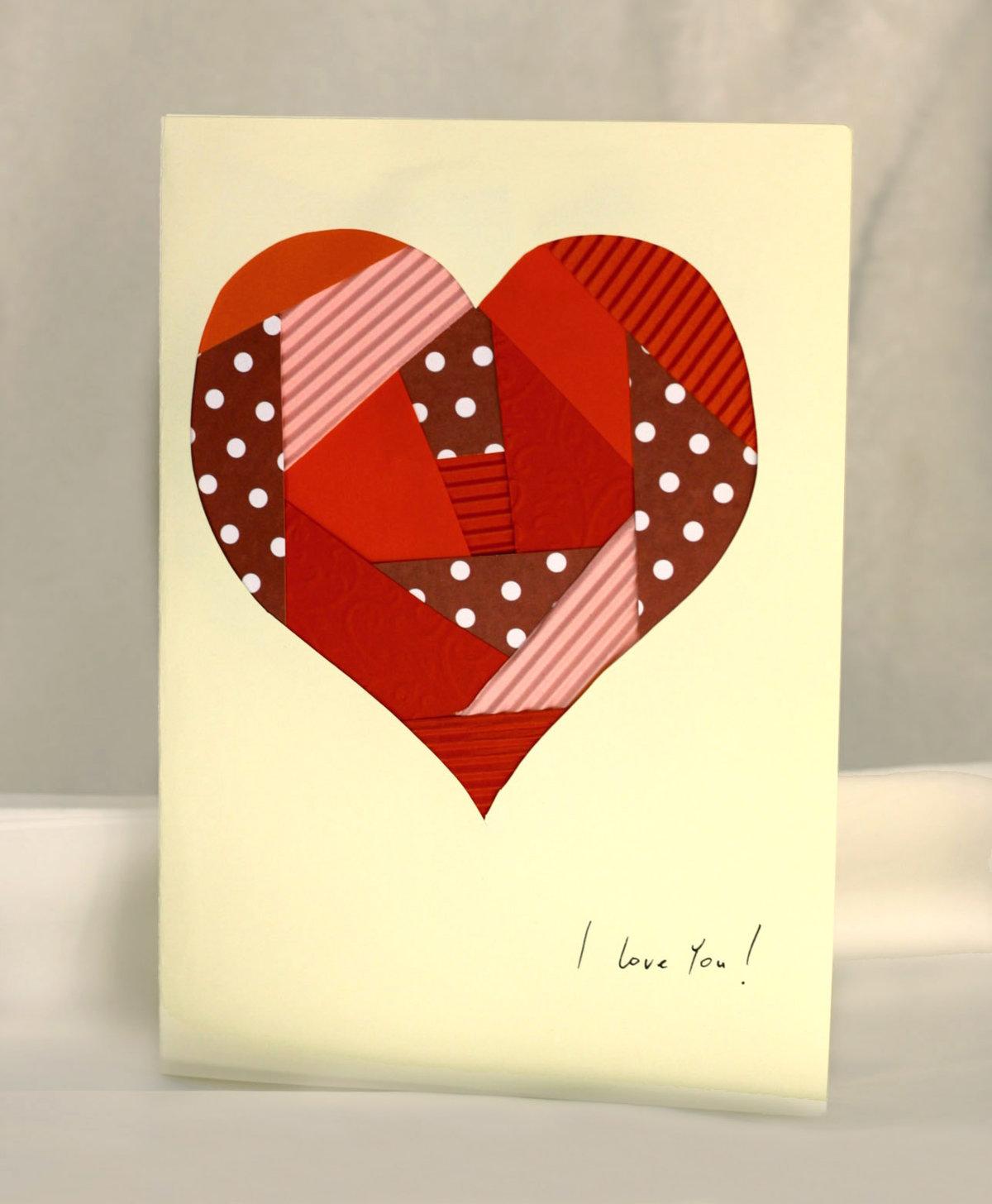 Валентинка из бумаги открытка
