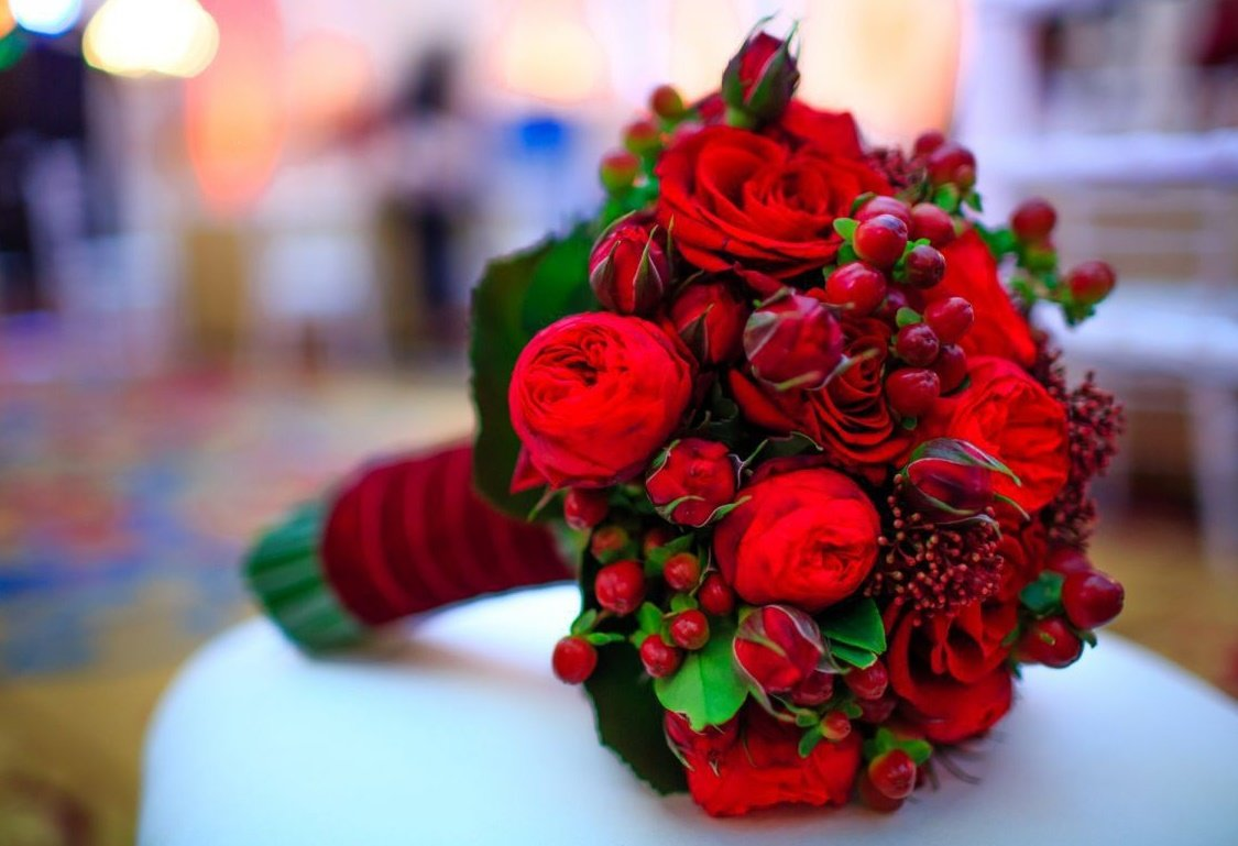 Свадебный красный букет самый красивый