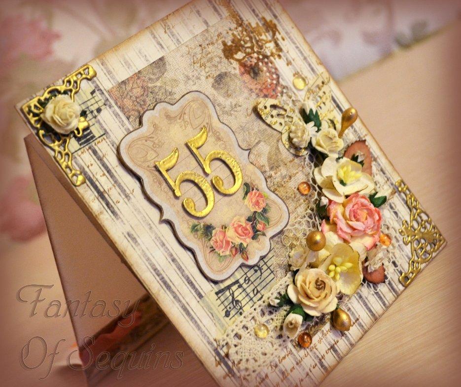 Открытка 55 лет скрапбукинг