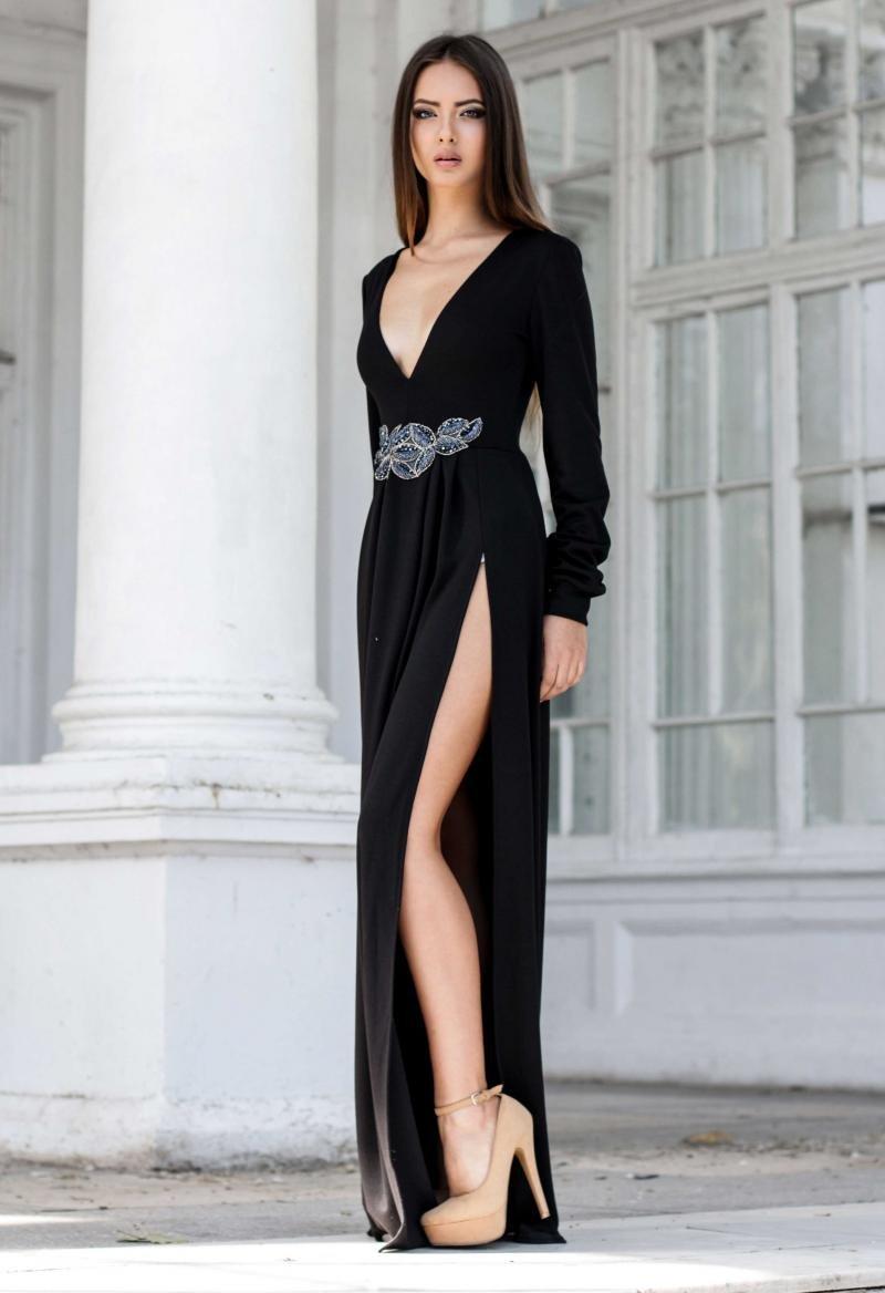 0c2322dd4ec ... Длинное вечернее платье с разрезом по ноге черного цвета для уверенных  в себе девушкам