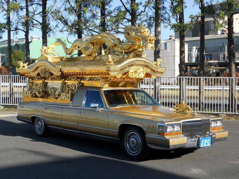 Cadillac Deville Golden Hearse