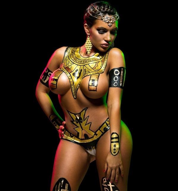 Girl topless girl body art