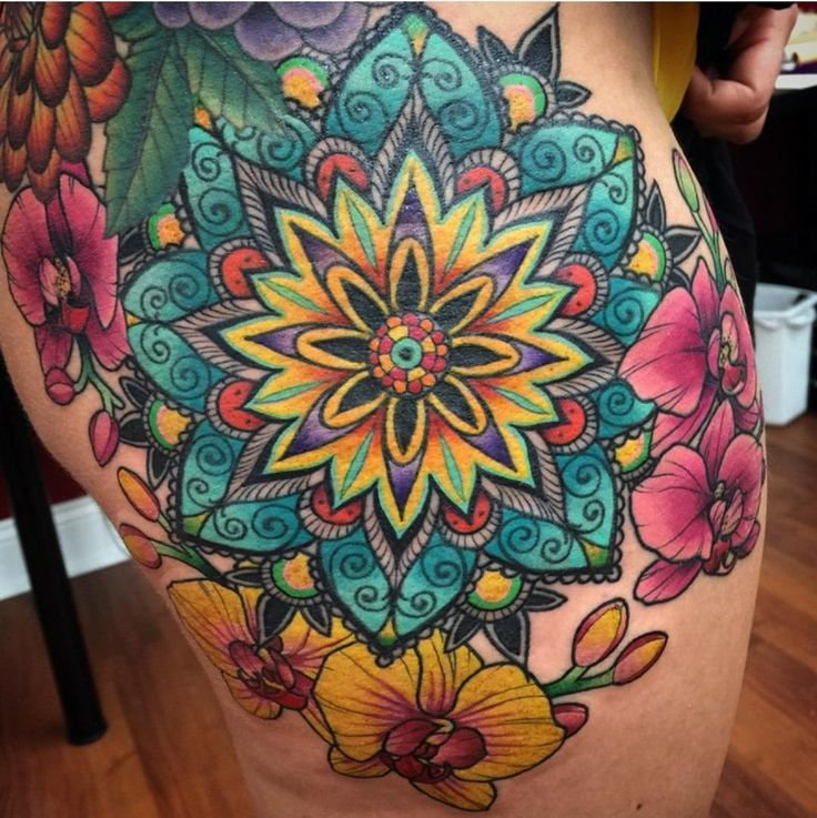 """38 Colored Mandala Tattoos Collection: """"1000+ Ideas About Bright Colorful Tattoos On Pinterest"""