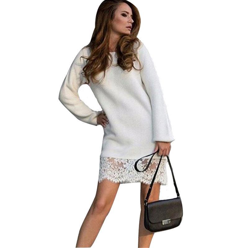 530686ad894 Белое трикотажное платье с кружевной отделкой Белое трикотажное платье с  кружевной отделкой