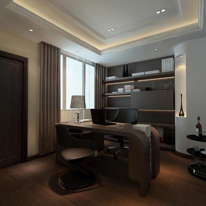 Домашний кабинет в современном стиле - Интересный дизайн (тёмно коричневая мебель)