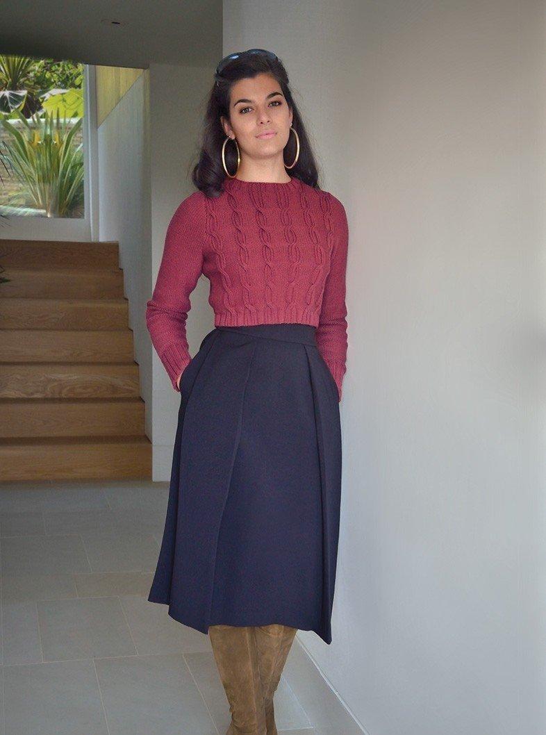 Вязаная синяя юбка