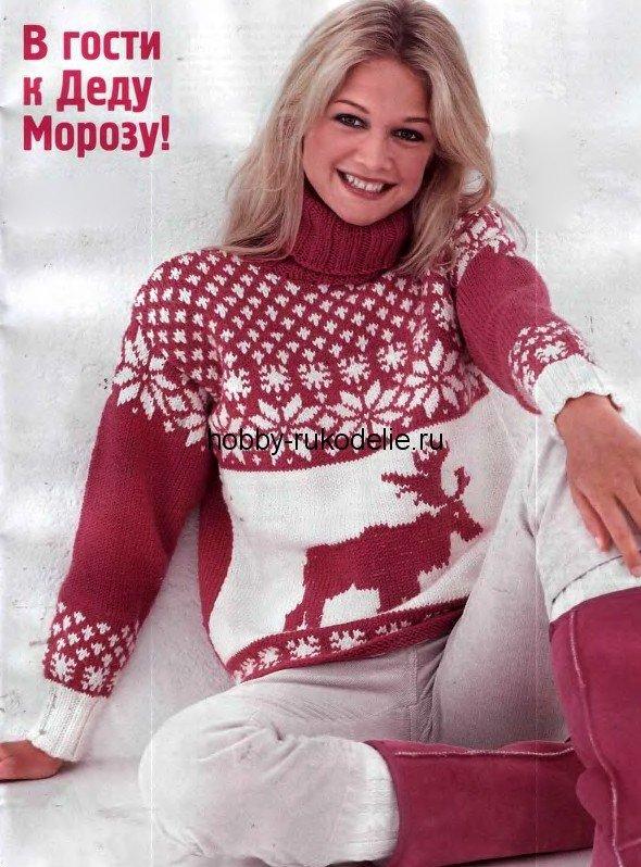 ну и куда же без вязаных спицами кофт в стиле норвежских свитеров с оленями!