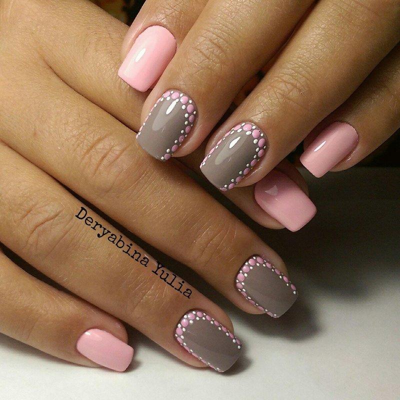 С розовым дизайн ногтей