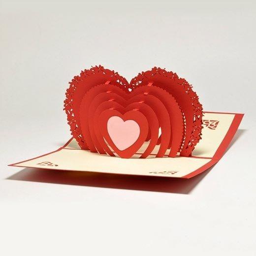Днем ангела, объемная открытка с сердцем