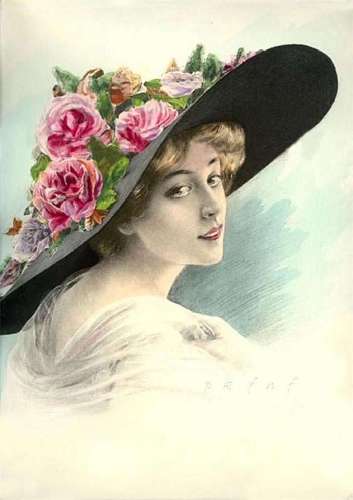 Елочная ветка, открытки девушек в шляпе