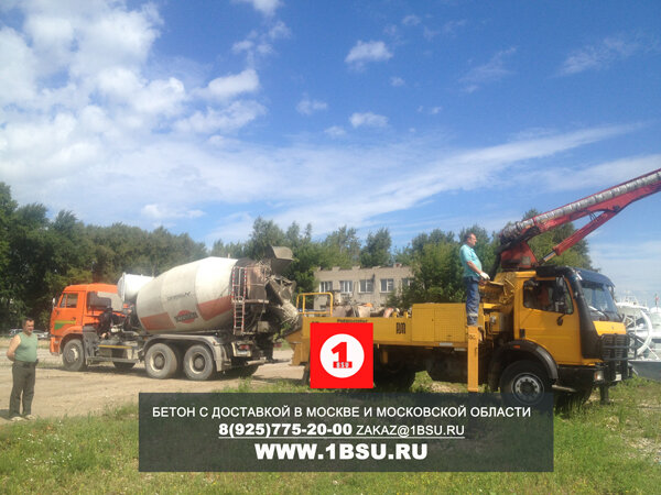 подача бетона М250 в пантон на воде