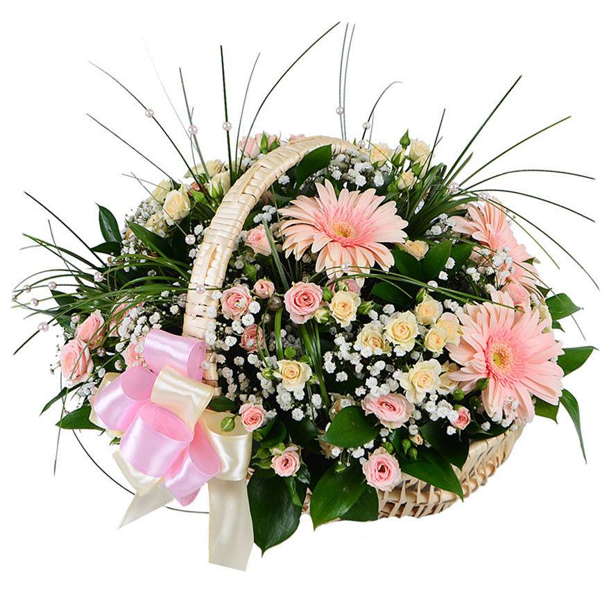 Свадебный букет в корзинке фото, цветы