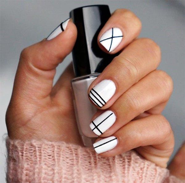 маникюр черно-белый на коротких ногтях фото