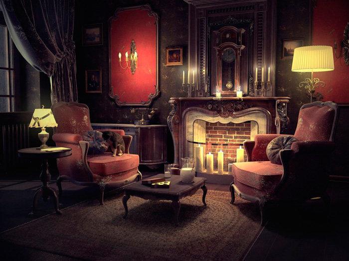 Английский стиль.  Гостиная в викторианском стиле