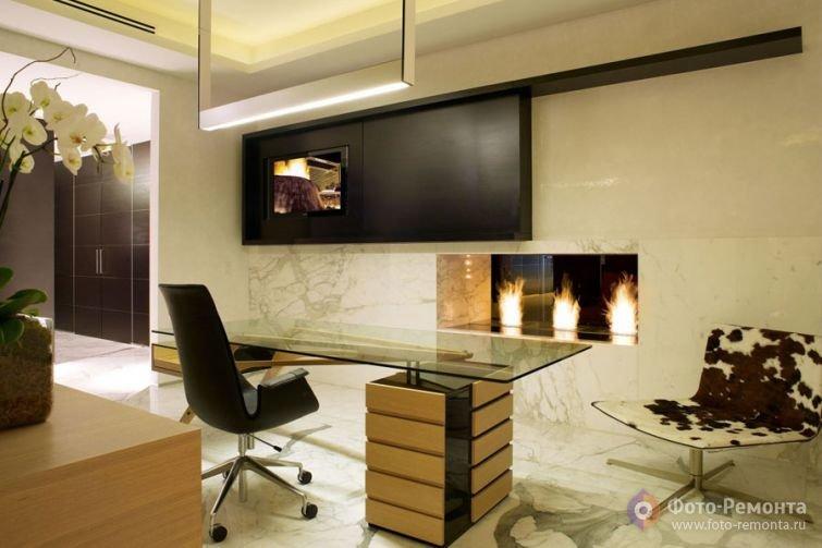 Дизайн домашнего кабинета в светлых тонах великолепен