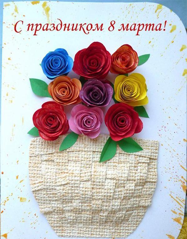 Сделать открытку на 8 марта маме и бабушке