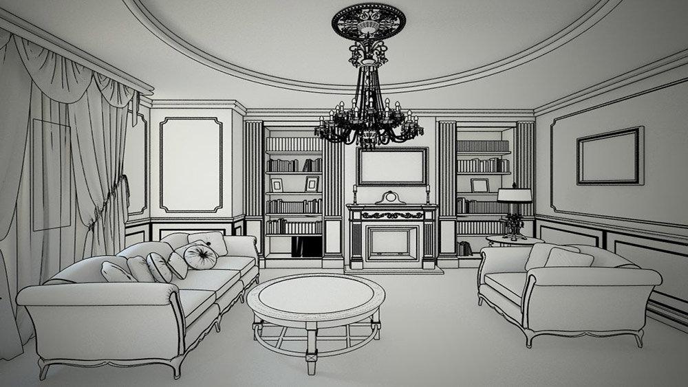 Картинки черно-белые комната