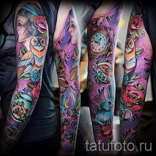 Рукав татуировка цветы