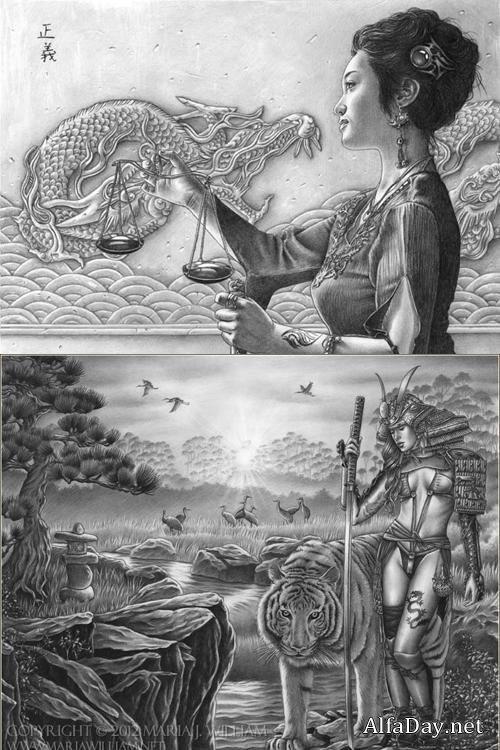 Художественные чёрно-белые иллюстрации Art Maria William