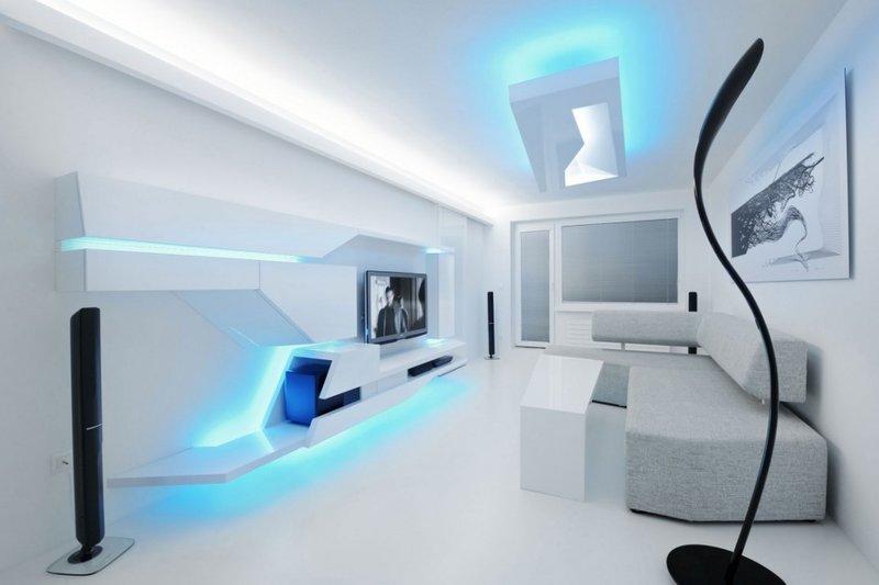 Космический интерьер апартаментов в стиле техно
