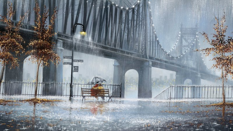 Обои Дождь, деревья, фонари, улица, скамья, двое, пара, зонт картинки на рабочий стол, фото скачать бесплатно