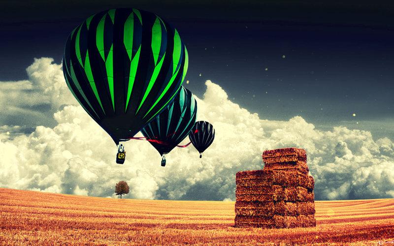 поле, воздушный шар, облака