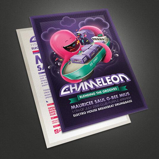 Привлекательные примеры листовок (флаеров): Вечеринка Chameleon