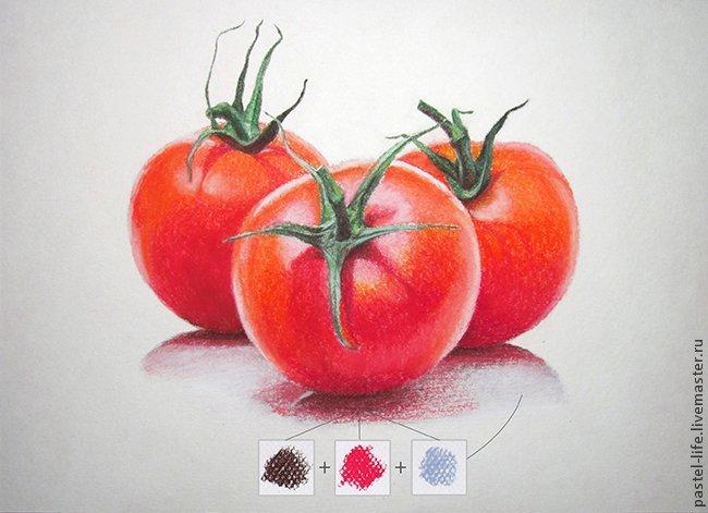 Рисуем сочные помидорки пастелью
