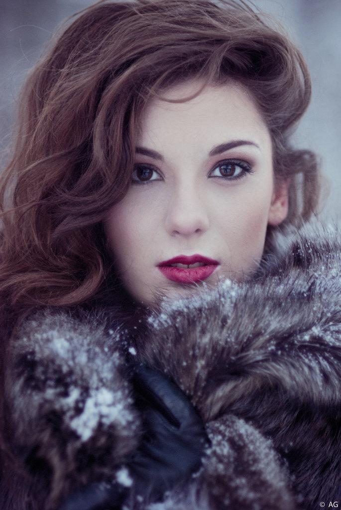 Съемка женского портрета зимой