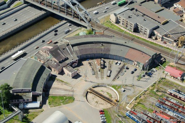 Веерное депо фото, Петербург с воздуха